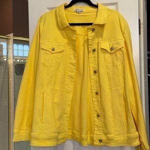 3x coldwater creek yellow knit denim jacket